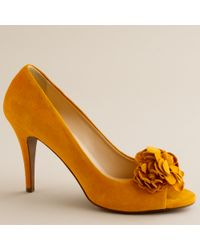 J.Crew | Yellow Evie Fleurette Peep-toe Pumps | Lyst