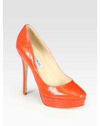 Jimmy Choo - Orange Cosmic Croc-print Leather Platform Pumps - Lyst