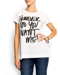 Mango | White Message Print T-shirt | Lyst