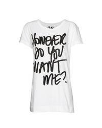 Mango - White Message Print T-shirt - Lyst