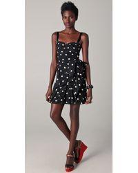 Marc By Marc Jacobs | Black Hot Polka Dot Gathered Waist Silk Dress | Lyst