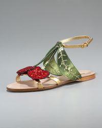 Miu Miu | Green Metallic Leather and Glitter Cherry Sandals | Lyst