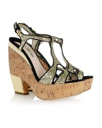 Miu Miu   Black Glitter-finish Suede Wedge Sandals   Lyst