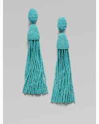 Oscar de la Renta - Blue Hematite Seed Beaded Fringe Earrings - Lyst