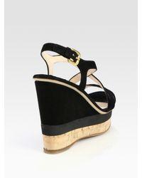 Prada - Black Suede Criss-cross Wedge Sandals - Lyst