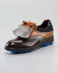 Prada | Brown Runway Kiltie Golf Shoe | Lyst
