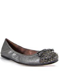 Sam Edelman | Metallic Beatrix - Gunmetal Leather Studded Ballet | Lyst