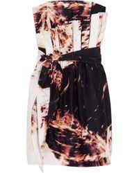 Sass & Bide | Brown Afraid Of The Dark Printed Silk Strapless Dress | Lyst