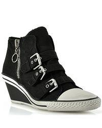 Ash | Gin - Black Canvas Wedge Sneaker | Lyst