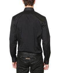 John Richmond - Black Strass Collar Stretch Poplin Shirt for Men - Lyst