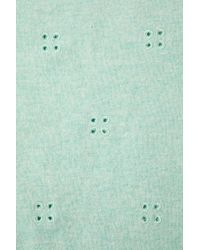 TOPSHOP | Green Knitted Broderie Top | Lyst