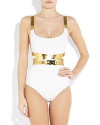 Michael Kors - White Metallic Wraparound Belt One-piece Swimsuit - Lyst