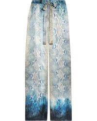 Roberto Cavalli | Blue Snake Print Silk-Satin Pants | Lyst