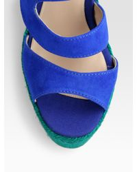 Brian Atwood - Blue Colorblock Espadrille Wedge Sandals - Lyst