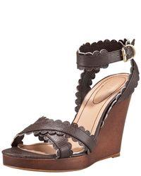 Chloé | Gray Scallop-strap Wedge Sandal | Lyst