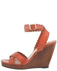 Chloé - Brown Scallop-strap Wedge Sandal - Lyst