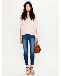 Free People | Blue 5 Pocket Ankle Crop with Zipper | Lyst
