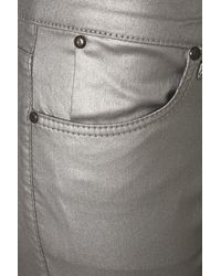 TOPSHOP - Metallic Pewter Leigh Jeans - Lyst