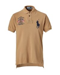Polo Ralph Lauren | Brown Shelter Tan Solid Weathered Mesh Big Flag Polo Shirt for Men | Lyst