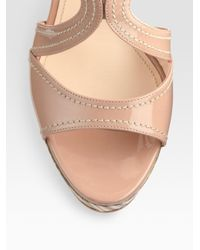 Prada - Pink Patent Leather and Wood Multistrap Wedge Sandals - Lyst