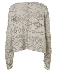 TOPSHOP | Gray Burn Out Aztec Sweat | Lyst