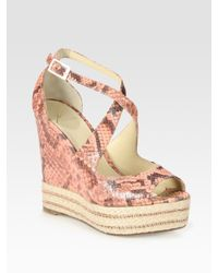 B Brian Atwood | Pink Dekoda Snake-print Leather Espadrille Wedge Sandals | Lyst