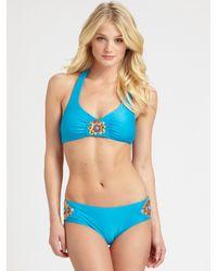 Badgley Mischka - Blue Tangier Halter Bikini Top - Lyst