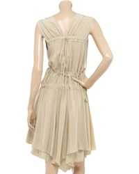 Bally | Natural Gathered Silk Crepe De Chine Dress | Lyst