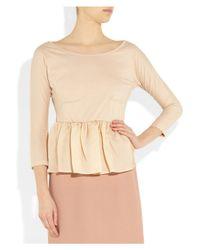 Carven | Pink Cotton-Jersey And Silk-Organza Peplum Top | Lyst
