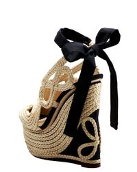 Charlotte Olympia | Natural 160mm Straw & Silk Wedges | Lyst