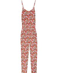 DKNY | Red Floral-print Stretch-silk Jumpsuit | Lyst
