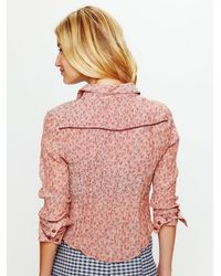 Free People - Red Western Printed Buttondown Shirt - Lyst