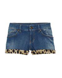 Just Cavalli | Blue Leopard-print Stretch-denim Shorts | Lyst