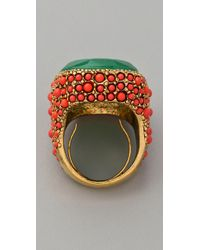 Kenneth Jay Lane | Orange Coral & Jade Cocktail Ring | Lyst