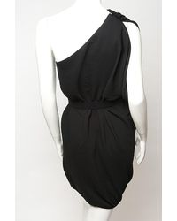 Lanvin | Black One-shoulder Belted Dress | Lyst