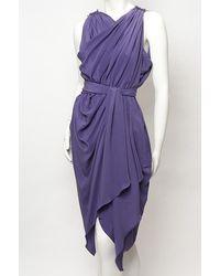 Lanvin | Purple Belted Drape Dress | Lyst