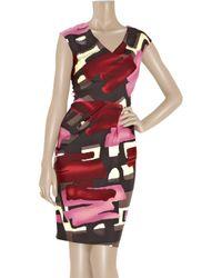 Lela Rose | Multicolor Wool-blend Brushstroke-print Dress | Lyst