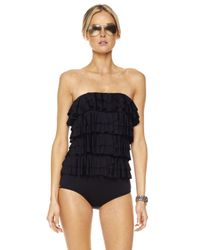 Michael Kors | Black Cascading Ruffle Maillot Swimsuit | Lyst
