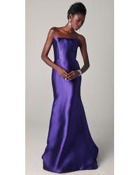 Reem Acra | Blue Strapless Silk Mermaid Gown | Lyst