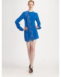 Stella McCartney - Blue Crepe De Chine Lace Dress - Lyst