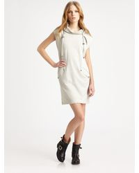 T By Alexander Wang | Gray Hooded Dress | Lyst