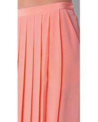 Tibi - Pink Maxi Pleated Skirt - Lyst