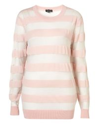 TOPSHOP - Pink Knitted Sheer Stripe Sweat - Lyst