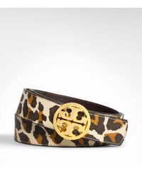 Tory Burch - Black Leopard Reversible Logo Hip Belt - Lyst