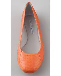 Vera Wang Lavender   Orange Lara Embossed Snake Ballet Flats   Lyst
