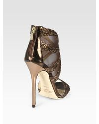 Jimmy Choo   Leila Glitter-coated Metallic Leather and Mesh Sandals   Lyst