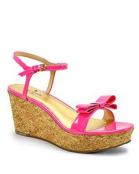 kate spade new york | Pink Patent Bow Cork Wedge Sandal | Lyst