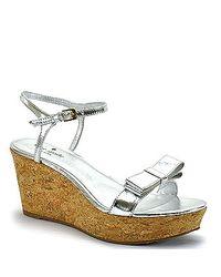 kate spade new york | Silver Metallic Bow Cork Wedge Sandal | Lyst