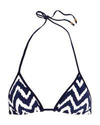 MILLY | Blue Biarritz Zigzag-print Triangle Bikini Top | Lyst
