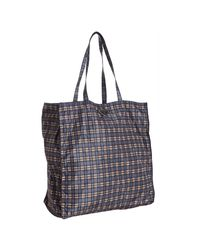Prada | Blue Check Print Nylon Shopper Tote | Lyst